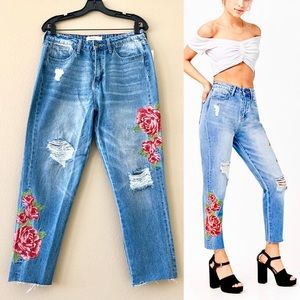 CELLO Floral Embroidered High-Rise Ankle Jeans